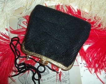Vintage 80s Black Beaded Purse