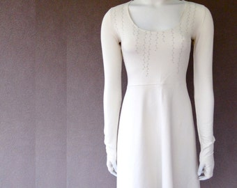 Short dress with scoop neckline and flare skirt, custom made to order.