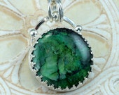 Sterling Chrysocolla Necklace -  Chrysocolla Filigree Necklace