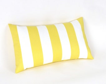 "Lemon Yellow and White Stripe INDOOR OUTDOOR Pillow Cover, 18"", 20"", 22"", 24"" Euro, 12 x 20"", 12 x 24"", 13 x 21"", Yellow Toss Pillow"