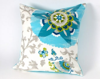 Suzani Turquoise and Gray Pillow Cover 18 inch