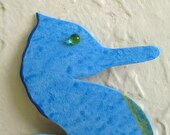 Metal Art Seahorse Tropical Wall Decor Handmade from Repurposed Metal wall art Hand Painted Turquoise