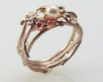 Satin Pearl Eco-Ring - made with recycled silver & 18K gold