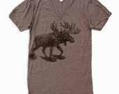 Unisex MOOSE (in Snow Shoes) Tri Blend V Neck T Shirt american apparel XS  S  M  L (2 Color Options)
