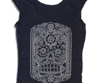 Womens Day of the Dead Scoop Neck Tee (6 Color Options) - american apparel T Shirt S M L XL