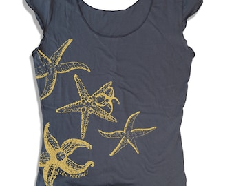 Womens STARFISH Scoop Neck Tee - american apparel T Shirt S M L XL (7 Colors)