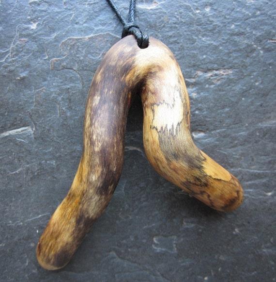 "Unique Natural Wood Pendant - English Ivy - ""Faery Dance""."
