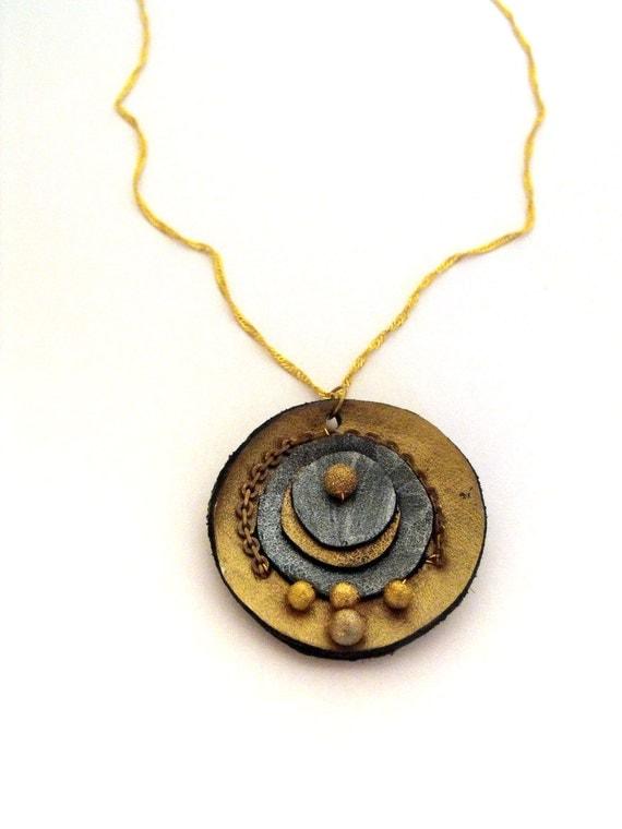 SALE Steampunk jewelry leather pendant n2