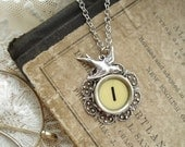 Typewriter Key Jewelry - Yellow Letter I Necklace. Vintage Typewriter Key Necklace. Silver Flower Filigree and Sparrow. Monogram Necklace.
