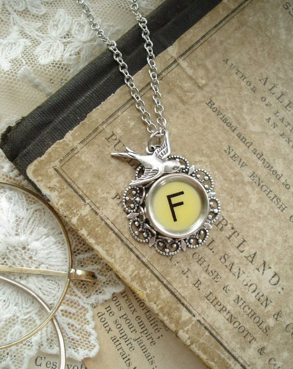 Typewriter Key Jewelry - Yellow Letter F Necklace. Vintage Typewriter Key Necklace. Silver Flower Filigree and Sparrow. Monogram Necklace.