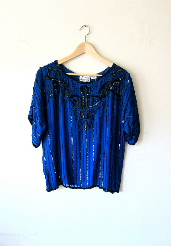 Blue and Black Silk Sequined Blouse