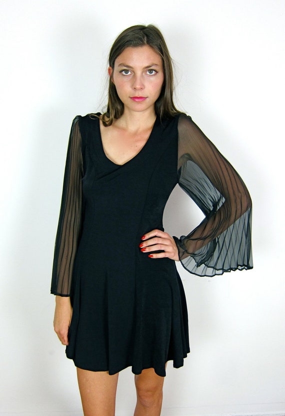 RESERVED   Black Sheer Sleeved 90's Dress