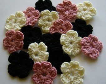 Crocheted Flowers - Black, Pink and Cream - Wool Flowers - Crocheted Flower Appliques - Crocheted Flower Embelishments - Set of 6