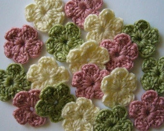 Wool Crocheted Flowers  - Pink, Green and Cream - Crocheted Flower Appliques - Crocheted Flower Embellishments - Set of 6