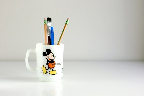 Vintage Mickey Mouse Milk Glass Mug by Anchor Hocking