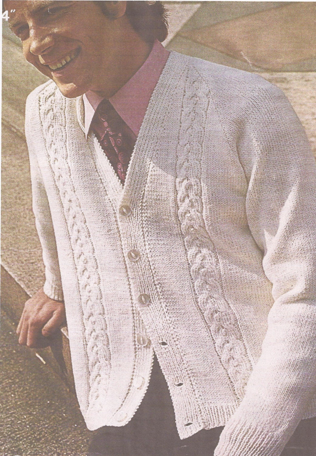 PDF Knitting Pattern Mens V Neck Cable Patterned Cardigan Size