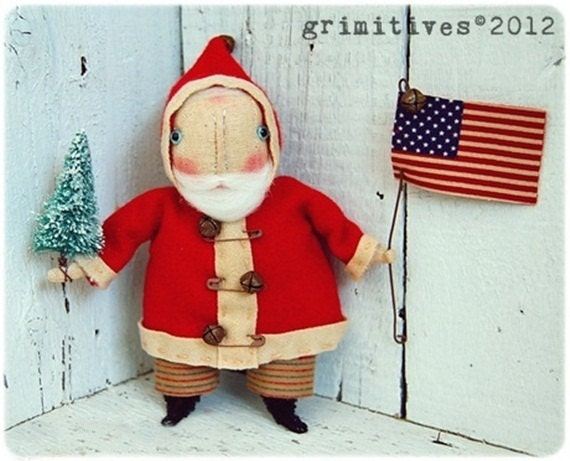 Folk Art Primitive Christmas in JULY Americana Santa