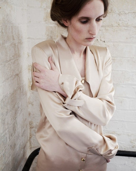 SAMPLE SALE Lois Nude Silk Satin Long Sleeve Shirt Dress
