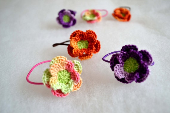Crochet  flower ponytail holders hair bands cotton purple green orange set of 6