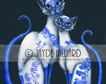 Print of Siamese Cats with Blue Willow Pattern *Choose your size* Retro Lowbrow