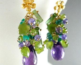 Purple and Green Gemstone Cluster Gold Filled Earrings - Amethyst, Peridot, Vesuvianite, Tourmaline