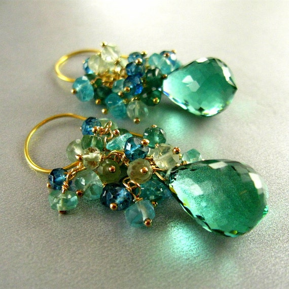 Reserved-Green Amethyst, London Blue Topaz, Apatite and Green Kyanite Cluster Earrings