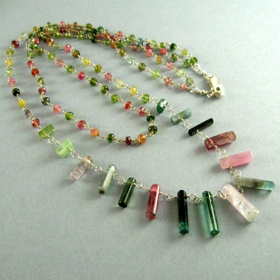 Reserved- Double Strand Watermelon Tourmaline Necklace