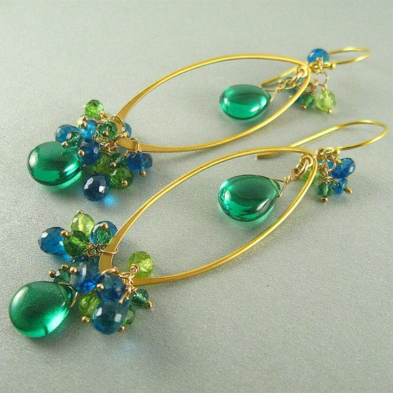 1/2 Off - Emerald Green Quartz Wire Wrapped Dangle Earrings