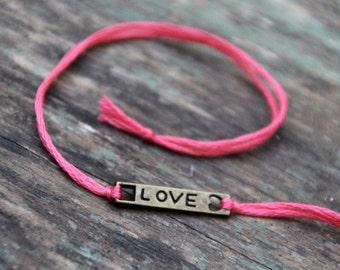 valentines day love bar bracelet personalized friendship bracelet custom jewelry bronze wish bracelet wishlet best friend galentine gift