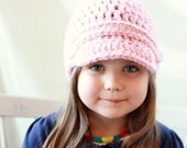 New and Improved Crochet Pattern PDF Easy Brimmed Button Beanie Hat in Two sizes, Adult and Child for the price of ONE