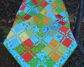 Blue Green and Orange Turtle and Frog Quilt