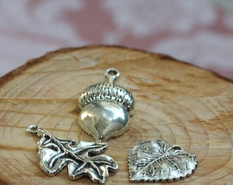Set of three - Large Vintage Silver Gun Metal or Pewter Charms - Autumn Leaves - 3 styles