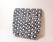 Medium Cotton Pouch Cosmetic Bag Toiletry Bag   Graphic Black and White Circles