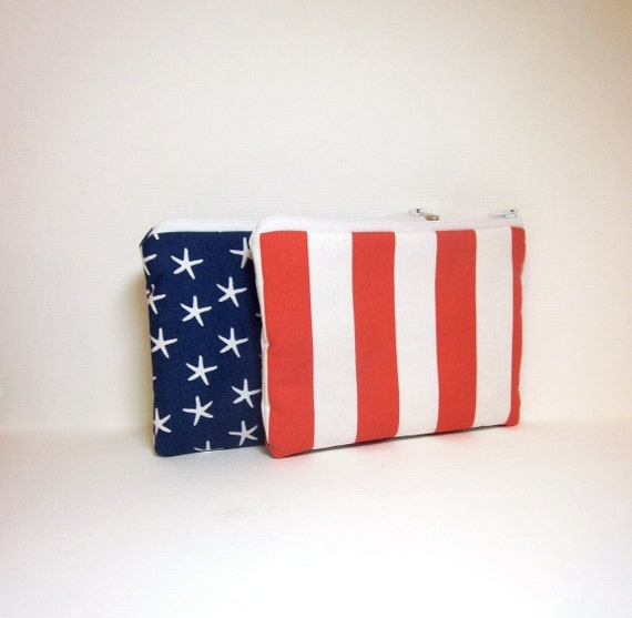 Small Zipper Pouch Set - Red, White and Blue, Stars and Stripes
