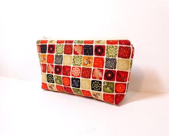 Medium Cotton Zipper Pouch - Floral Sampler in Mini Squares