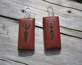 Mountain Mahogany Goddess Earrings- Wooden Earrings in Reclaimed Mountain Mahogany- Wood Jewelry   BB9