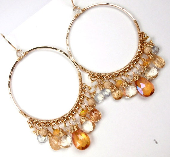 RESERVED for D - Hoop Earrings Wire Wrapped Hammered 14kt Gold Fill Imperial Topaz - Layaway Payment 5