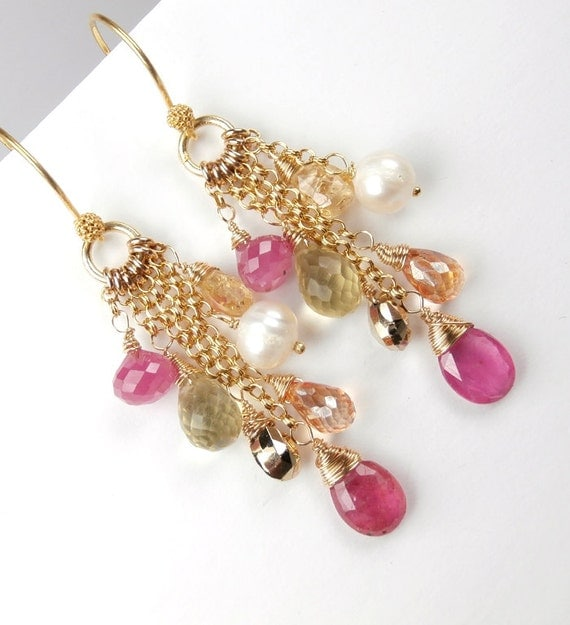 RESERVED for Lene - Pink Sapphire Earrings Imperial Topaz Wire Wrapped Long Gold Chain