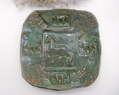 Horse Bowl Serving Plate Handmade Pottery glazed in Rustic Green