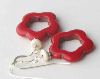 Red Flower Earrings. Red Magnesite Howlite, Flowers with Solid 925 Sterling Silver