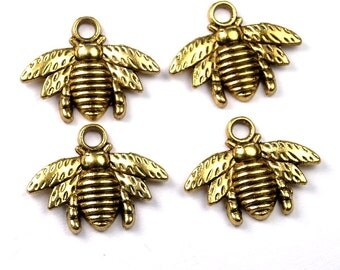Bumble Bee Charm Gold plated pewter -  4 pcs