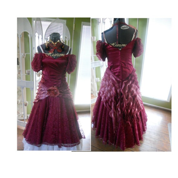 Masquerade dress gown production saloon Victorian Fish tail Mermaid burgundy lace vintage 80s