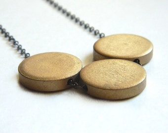 Wood Necklace - Gold, Brown, Mustard, Rustic, Tribal, Circles, Disc, Colorful, Autumn, Fall, Geometry, Warm, Modern, Golden