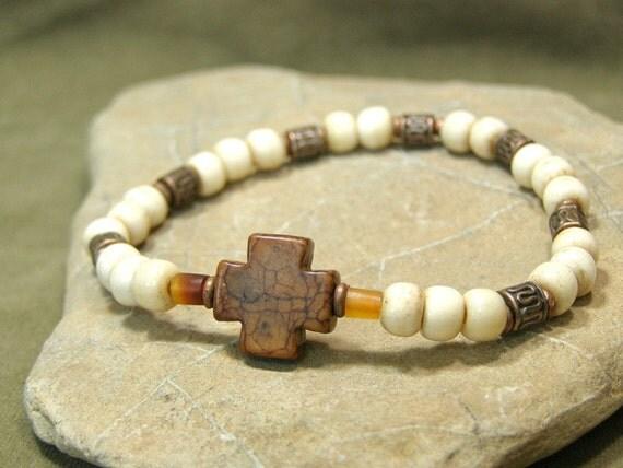 Cross Bracelet - Unisex Bracelet - Mens Bracelet - Beaded Bracelet - Stretch Bracelet - Tribal Bracelet - Bohemian Jewelry