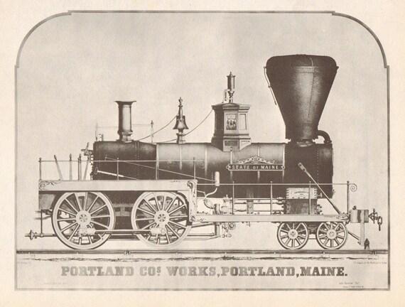 Vintage Train Art Print. The State of Maine, 1851. In Black, Cream, Sepia. Antique, Portland, Boy, Nursery, Choo Choo. (No. 83)