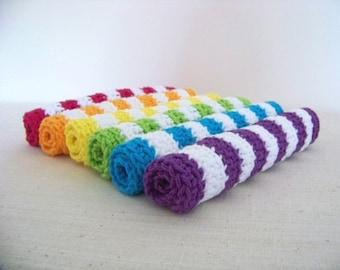 Crocheted Dishcloths, Rainbow Striped 6 pc Set