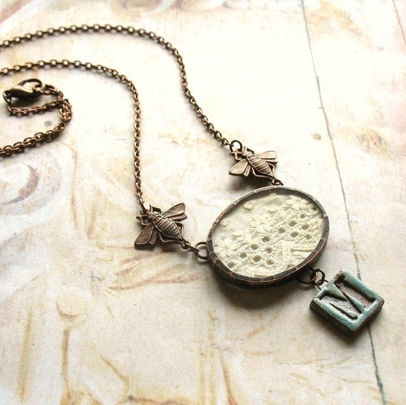 Remember When Necklace - Vintage Inspired Glass, Lace and Bees Initialed Handmade Copper Necklace, Choose Your Initial