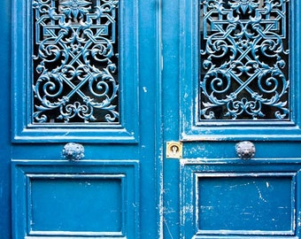 Paris Photography - Blue Doors in Paris, France, French Home Decor - Monaco Blue, Paris Door Photo, Blue Doors, Paris Street photography