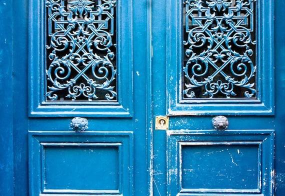 Paris Photography - Blue Doors in Paris, France, French Home Decor - Monaco Blue, Paris Door Photo, Blue Doors, Paris Street photography