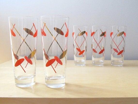 red orange and gold elipse, tom collins beverage glasses, vintage barware